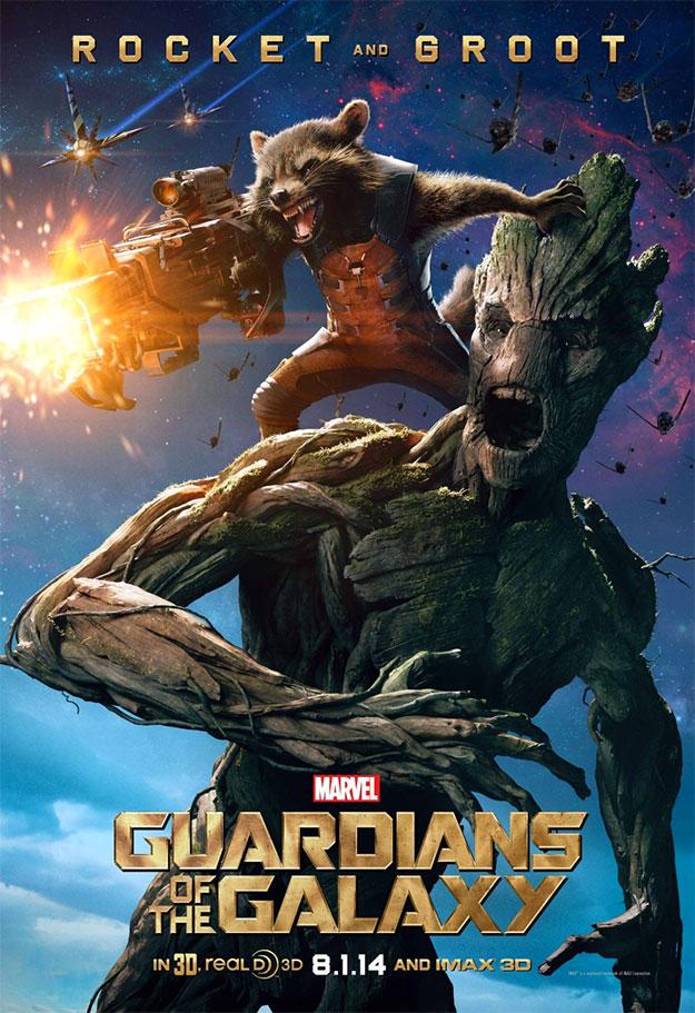 El cartel de Guardianes de la Galaxia dedicado a Mapache Cohete y Groot