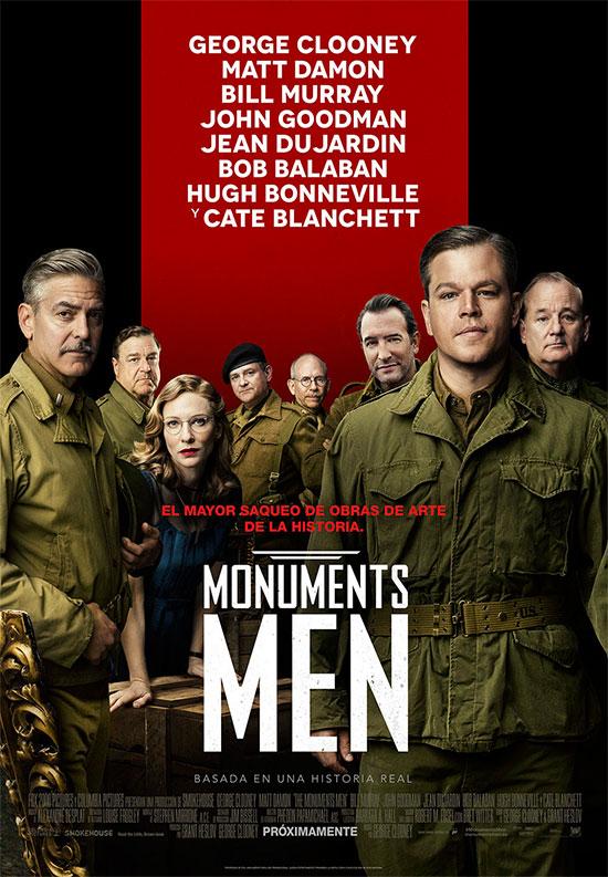 Cartel español de Monuments Men con todo el reparto