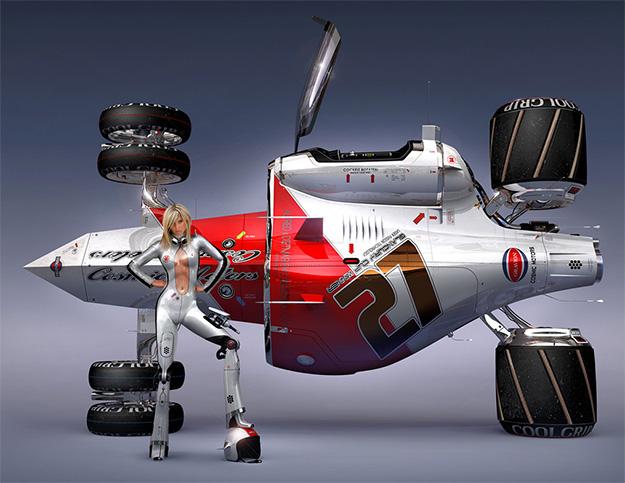 """Uno de los diseños de Daniel Simon para su libro """"Cosmic Motors"""""""