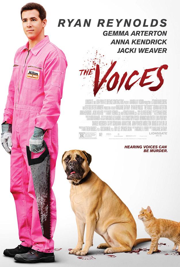 Un nuevo terrible cartel de The Voices... la cara pegote de Ryan Reynolds no hace justicia