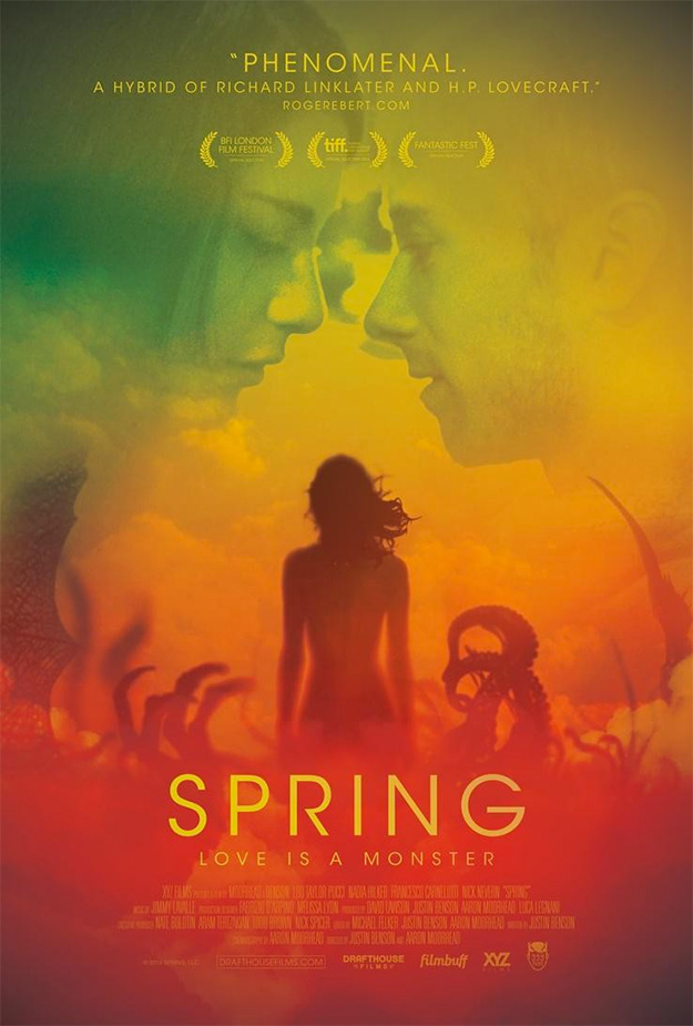 Una mujer y tentáculos en el cartel de Spring