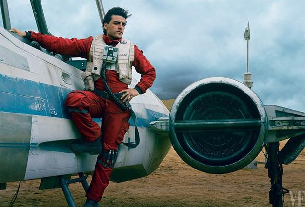 Oscar Isaac es Poe Dameron a lomos de su X-Wing