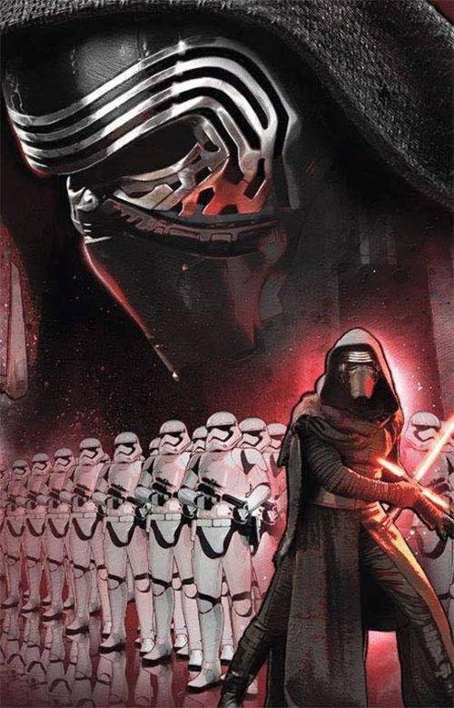 Kylo Ren, su sable y Stormtroopers a cascoporro