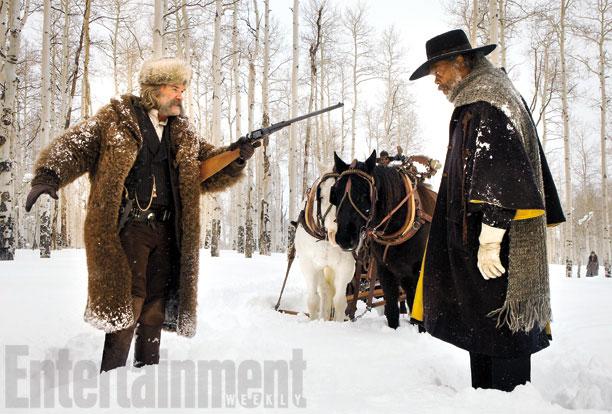 El cazarrecompensas John Ruth (Kurt Russel) vs. el extraño Mayor Marquis Warren (Samuel L. Jackson)