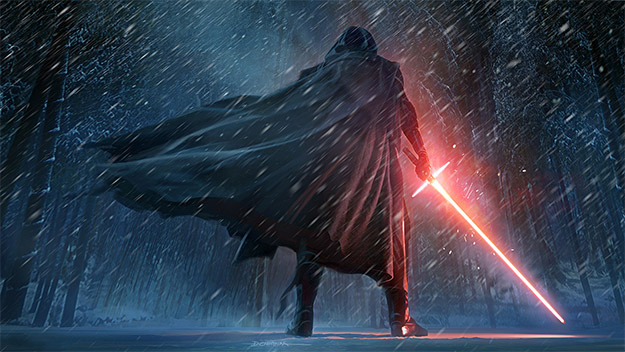 Concept art de Kylo Ren para el libro The Art of Star Wars: The Force Awakens
