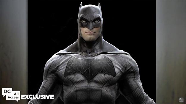 Primer plano del nuevo traje de Batman