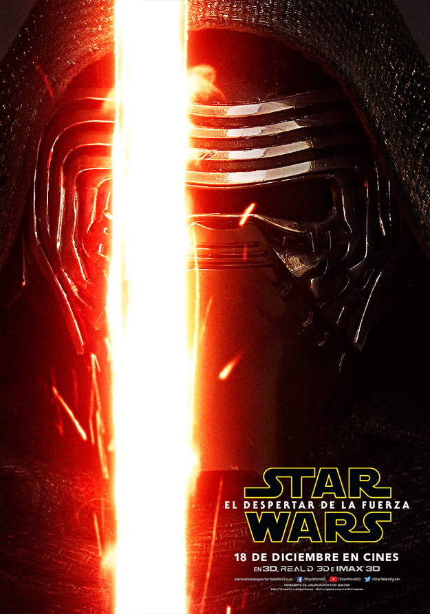 Cartel de Kylo Ren (Adam Driver) en Star Wars: El Despertar de la Fuerza