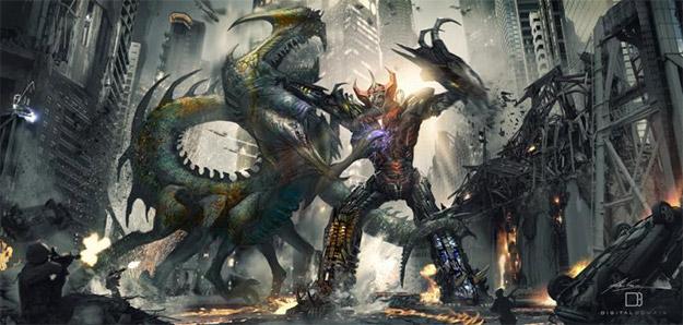 Megazord vs. kaiju por Alex Ruiz