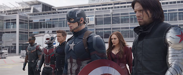#TeamCap con Capitán América, Soldado de Invierno, Ojo de Halcón, Ant-Man, Halcón y Bruja Escarlata