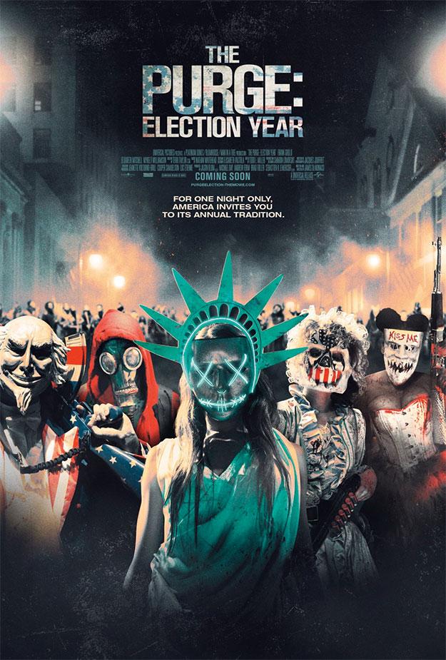 Cartel colectivo de los villanos, todos, de Election: La noche de las bestias