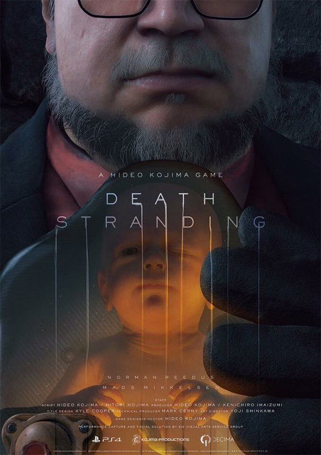 Death Stranding = Hideo Kojima + (Norman Reedus x Mads Mikkelsen / Guillermo del Toro)