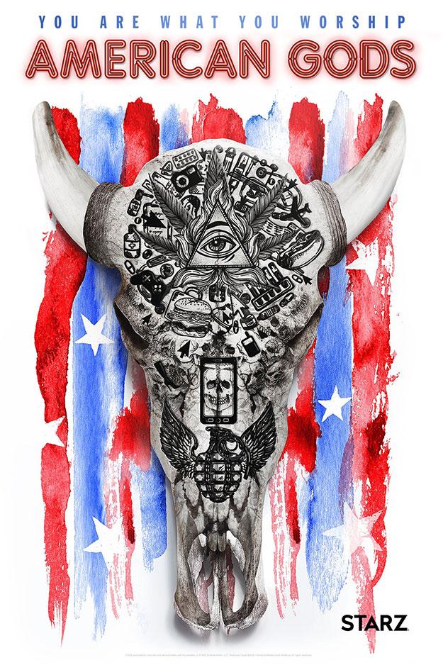 """Cartel para la Comic-Con 2016 de """"American Gods"""""""