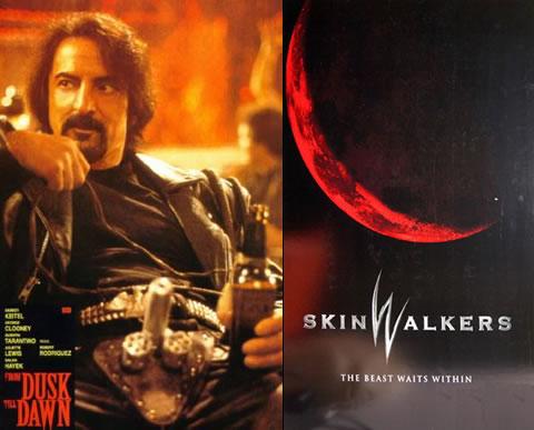Tom Savini como Sex Machine y el póster de Skinwalkers