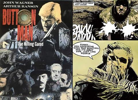 Button Man: The Killing Game. Portada del tomo recopilatorio y un par de viñetas