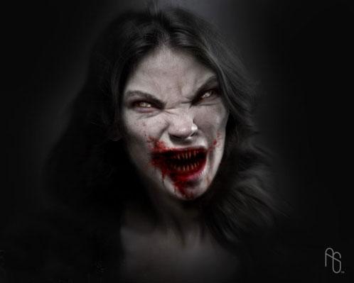 Uno de los vampiros de 30 días de oscuridad dibujado por Aaron Sims