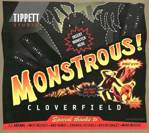 Cartel de agradecimiento de Tippett Studio para el personal de Cloverfield