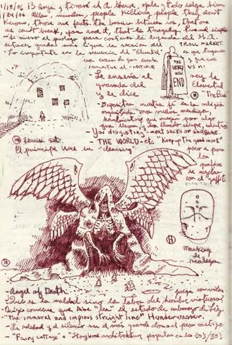 Otras de las páginas del block de notas de Guillermo del Toro para Hellboy II: El Ejército Dorado