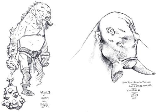 Arte conceptual de Hellboy II creado por Mike Mignola (izquierda) y HH (Derecha)