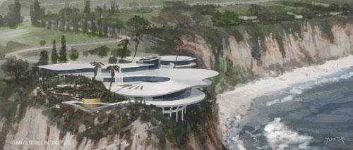 Modelo final de la mansión de Tony Stark creado por Phil Saunders