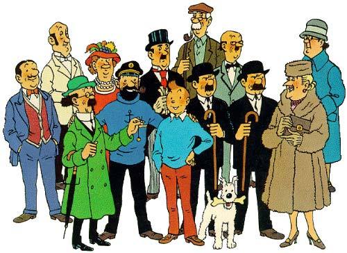 Tintín y los demás miembros de las aventuras de Hergé