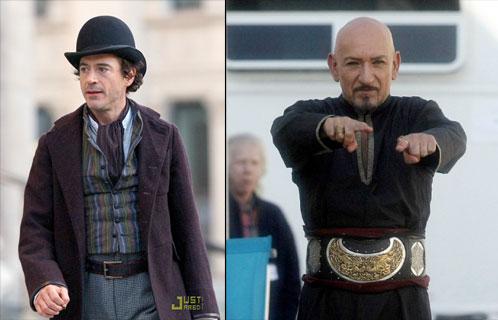 Robert Downey Jr. como Sherlock Holmes y Ben Kingsley como Nizam