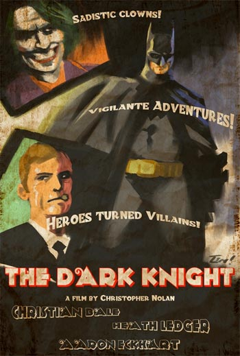 Póster de The Dark Knight modo vintage