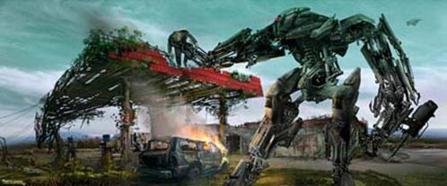 Arte conceptual de Terminator: Salvation - Dibujo del Harvester en plena acción
