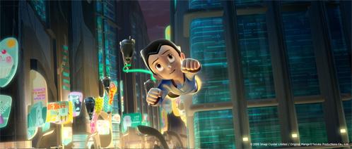 Astro Boy sobrevuela Metro City