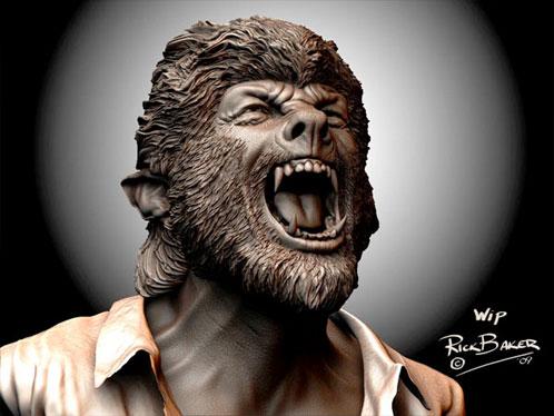 Arte conceptual de The Wolf Man creado por Rick Baker