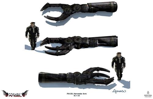 Arte conceptual de Terminator Salvation. Prueba de dimensión de un Harvester
