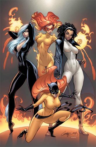 Féminas de Marvel por Jeff Scott Campbell