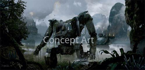 Arte conceptual de un power suit de Avatar. El entorno es Pandora