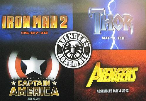 Collage de Marvel Studios: Iron Man 2, Thor, Captain America y The Avengers