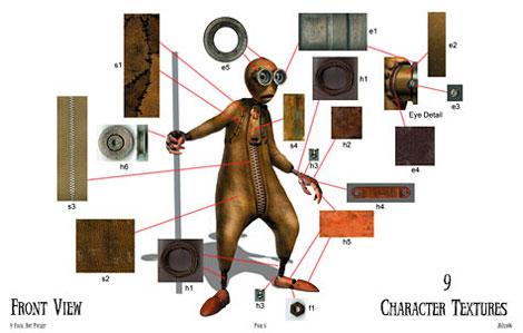 Diseño de texturas para los personajes de 9