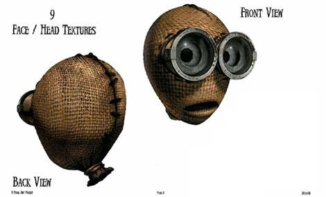 Diseño de texturas para los rostros de los personajes de 9