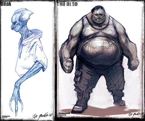 """Diseños de Beak (desechado) y The Blob para """"X-Men orígenes: Lobezno"""""""