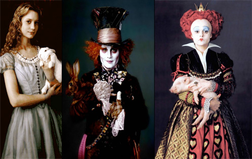 Alicia, El Sombrerero Loco y la Reina de Corazones en Alice in Wonderland